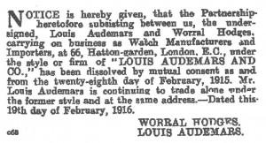 1916 London Gazette entry